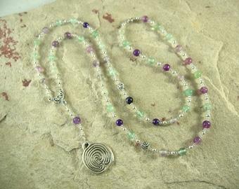 Ariadne Prayer Bead Necklace in Rainbow Fluorite: Greek Goddess, Mistress of the Labyrinth