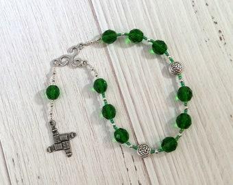 Brigid (Brighid, Brigit) Pocket Prayer Beads in Green: Irish Celtic Goddess of Poetry, Crafts and Healing