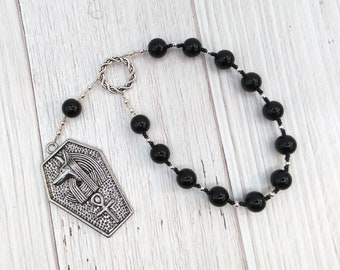 Anubis Pocket Prayer Beads in Black Onyx: Egyptian God of the Underworld and the Afterlife, Guardian of the Dead