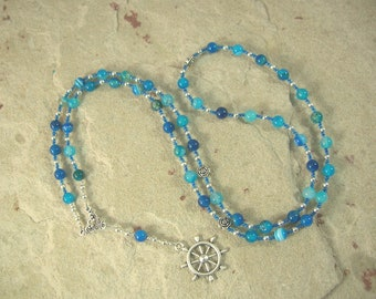 Tyche (Fortune) Prayer Bead Necklace in Blue Agate: Greek Goddess of Luck, Chance and Prosperity, Mistress of the Wheel of Fortune
