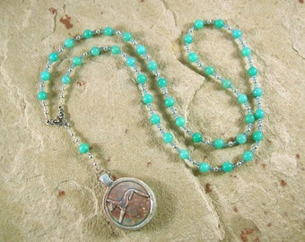Anubis Prayer Bead Necklace in Amazonite: Egyptian God of the Underworld and the Afterlife, Guardian of the Dead