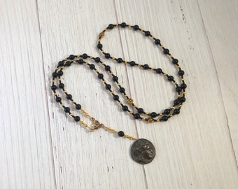 Charon Prayer Bead Necklace in Black Onyx: Greek God, Ferryman of the Dead, Guardian of the River Styx