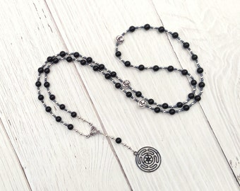Hekate (Hecate) Prayer Bead Necklace in Onyx with Hecate's Wheel: Greek Goddess of Magic, Witchcraft, Protection of the Home and Women