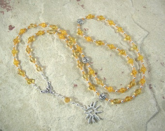 Eos Prayer Bead Necklace in Citrine: Greek Goddess of the Dawn