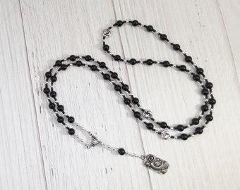 Nyx Prayer Bead Necklace in Black Onyx: Greek Goddess of the Night