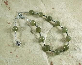 Persephone Pocket Prayer Beads in Labradorite: Greek Goddess of Spring, New Growth, Renewal, Death, the Afterlife, the Underworld