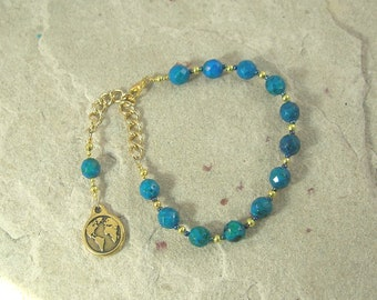 Gaia Prayer Bead Bracelet in Azurite/Chrysocolla: Mother Earth, Mother of the Gods, Mother of All That Is.