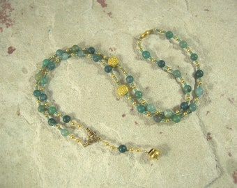 Dagda Prayer Bead Necklace in Moss Agate: Irish Celtic God of Protection and Abundance