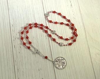 Freyja Prayer Bead Necklace in Carnelian: Norse Goddess of Love, War, Passion, Magic