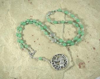Flidais Prayer Bead Necklace in Green Aventurine: Irish Celtic Goddess of Wild Beasts and the Wilderness