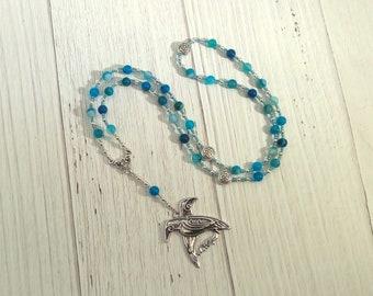 Odin Prayer Bead Necklace in Blue Agate: Norse God of Battle, Magic, Runes, Wisdom