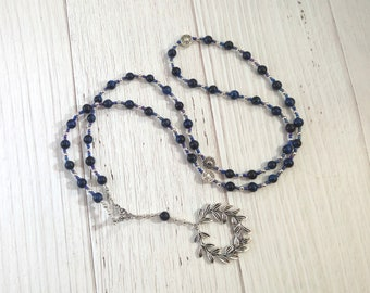 Apollo Prayer Bead Necklace in Blue Tiger Eye: Greek God of Music and the Arts, Health and Healing, Archery and the Sun