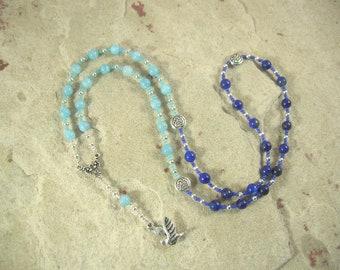 Rhiannon Prayer Bead Necklace in Aquamarine and Lapis: Welsh Celtic Goddess of Magic, Abundance and Sovereignty