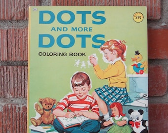 Vintage Coloring Book, 1964 Children's Color and Learn Book, Teaches Numbers, Follow the Dots & Color in One Book, Mid Century Kid's Fun