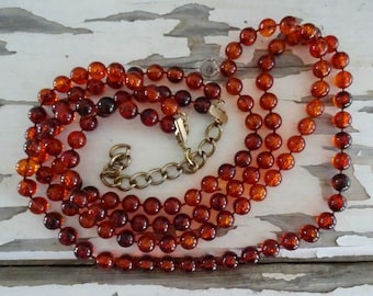 "Amber Beaded Double Strand Necklace, Amber Colored Beads with Extension Chain, 28"" Length, Great Fall Accessory, Vintage Clothing Accent ~"