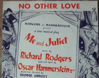 Vintage 1953 Sheet Music Rodgers Hammersteins Song From Musical Me And Juliet 1950s Broadway Show Tune Mid Century