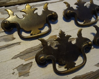 Vintage Canada Brass Black Silver French Chippendale Style Drawer Pull 1