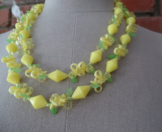 "Vintage 1960's Yellow Necklace, Unusual Yellow Beaded Necklace, Mid Century Kitsch Fashion, Extra Long 44"" Necklace, Versatile Wear Jewelry"