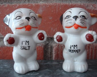 Vintage 1940's Bonzo the Dog Salt & Pepper Shakers, Made in Japan, Kitschy Decor, Mid Century Collectible, Comical Dogs, Retro Fun Kitchen ~