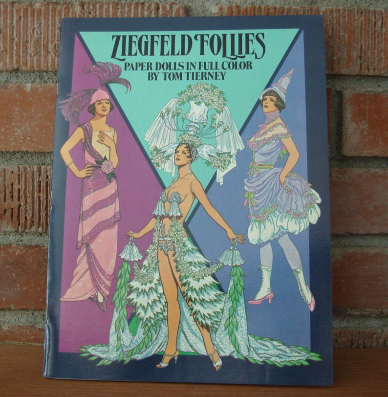 Vintage Ziegfeld Follies Paper Dolls, New 1985 Book of Ziegfeld Show Girls  Paper Dolls, Costumes by Tom Tierney, Fashion History Collectible