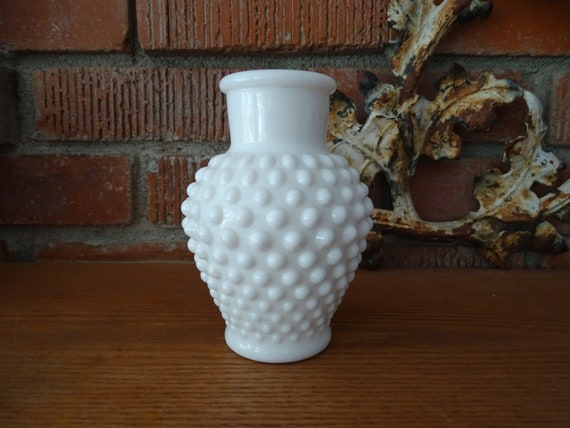 Hobnail Milk Glass Vase Vintage White Glass Flower Vessel Etsy