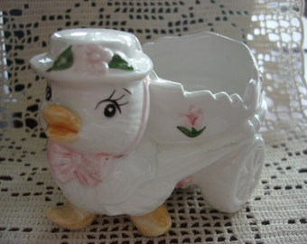 Vintage Chick with Bonnet Figurine, Cute Easter Candy Dish, Holiday Decor, Easter Collectible ~