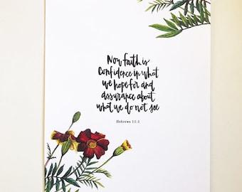 Hebrews 11:1 Hand Lettered Art Print