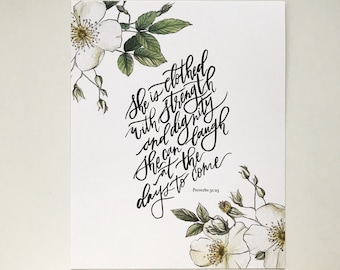 Proverbs 31:25 Hand Lettered Art Print
