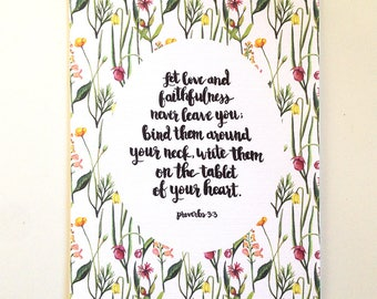Proverbs 3:3 Hand Lettered and Watercolor Art Print