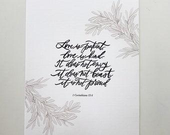 1 Corinthians 13:4 Hand Lettered Art Print