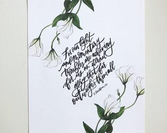 2 Corinthians 4:17 Hand Lettered Art Print