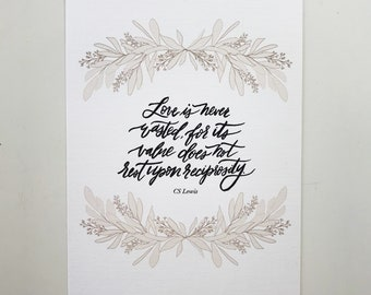 CS Lewis Quote - Hand Lettered Art Print
