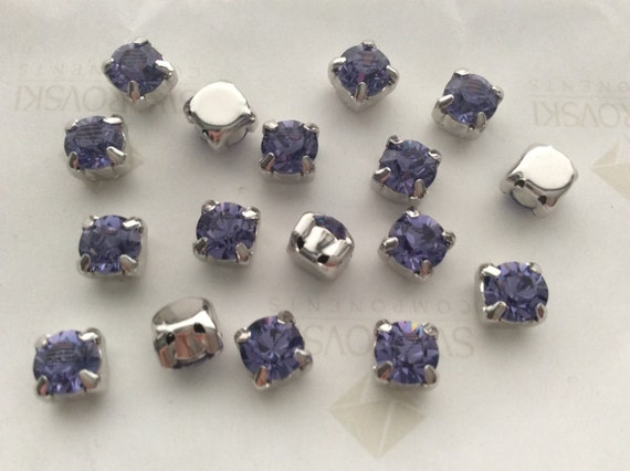 6 pcs Genuine Swarovski® Crystal #5040 Briolette Beads 8 mm Tanzanite AB