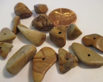 Tiger Jasper Chips/Chunks, Drilled 10 Gram Package. Item:BC818691