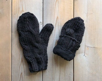 Black Bulky Yarn Cable Knit Mittens Lined With Flannelette