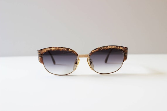 b6d0510efcf9 Christian Dior Gold Flake Filled Sunglasses with Metal Accents