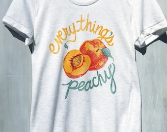 d09311a0 Everything's Peachy Funny Graphic Womens T-Shirt with Block Printed Peach  Design