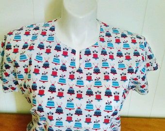 b1532f30d68 Fast Shipping 4th of July scrub top made to order xs to xl 4 different neck  design 100% Cotton great quality brand new