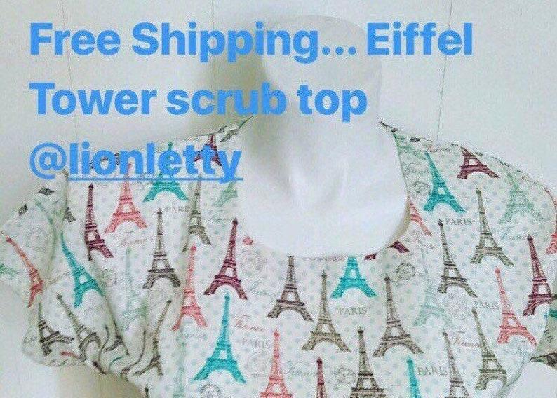 a65d4c1bc0d FREE Shipping Eiffel tower scrub top XS to XL scrub custom | Etsy