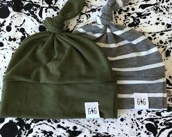 3233dc5c337 Olive Green Grey White Stripe Baby Knot Hats