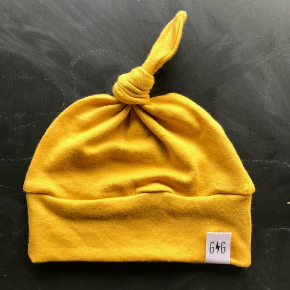 Baby Knot Hat Mustard Yellow Baby Hat Knot Hat Infant Hat  56d62a97385