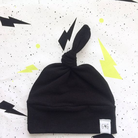 Black Baby Knot Hat Solid Colors Black Newborn Hat Baby  27c749347aa