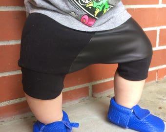 Toddler Shorts, Black Leather, Leather Shorts, Toddler Boy Shorts, Harem Shorts, Baby Boy Shorts, Baby Clothes, Baby, Harem, Baby Shorts