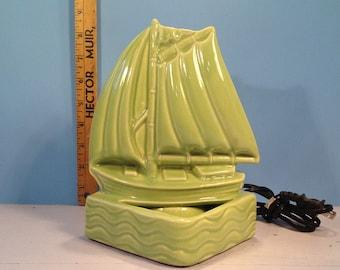 Vintage lamp green boat