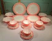 Vintage Hazel Atlas crinoline pink set of dishes for 4 50 39