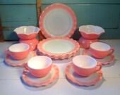 Vintage Hazel Atlas crinoline set of dishes for 4 50 39