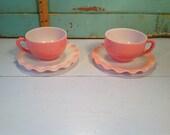 Vintage Hazel Atlas 2 cup and saucer crinoline pink
