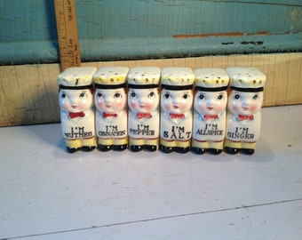 Vintage retro spice jars shakers Baker Boy 50'