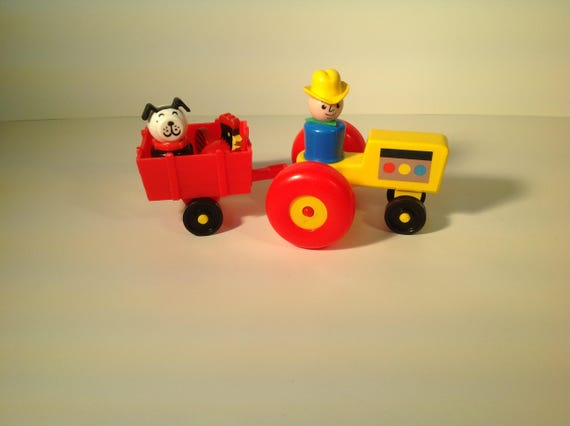 Vintage play family farm tractor and cart 1969