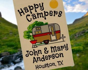 "Personalized Camping Flag, Travel Trailer Sign, ""Happy Campers"" Flag, RV Camping Sign, Custom Camper Flag, Vintage Camper Decor, Camp Decor"
